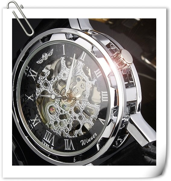 New Automatic Mechanical Skeleton Black Leather Wrist Silver Auto Men's Watch Free Shipping