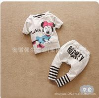 Комплект одежды для девочек New Fashion Boys Grils Set 2pcs Short Sleeves Cartoon Minnie Mouse T-shirt + Stripes Print Pants Kids Suit