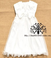 Short Style Sleeveless Bow Bridesmaids Dress Pleated Solid Grenadine Dovetail Ball Gown Sweet Dress White Black Champagne