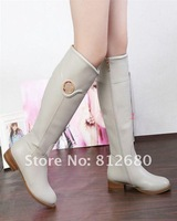 2012  white genuine leather ladies boots brand boots winter long boots fur