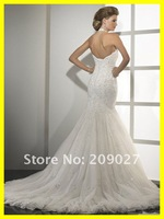 Свадебное платье 2012 New Gorgeous Sweetheart Appliques Mermaid Tulle Long Bridal Gown Wedding Dresses