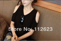 Женская футболка 2013 new fashion cotton lady's sleeve necklines off-the-shoulder T-shirt