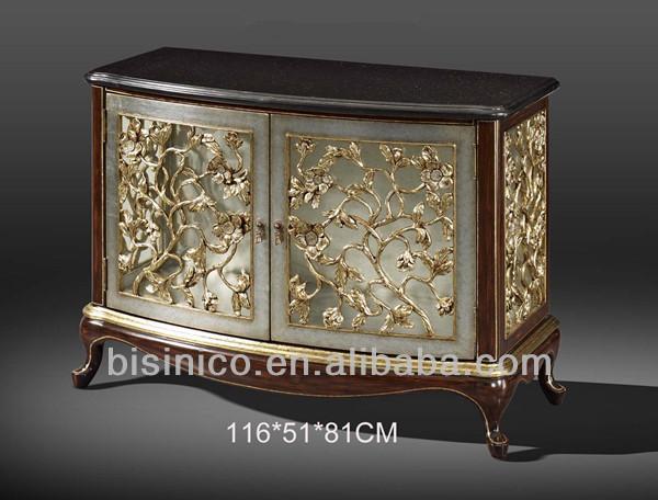 Exquisite wood carved two door cabinet sideboard buffet