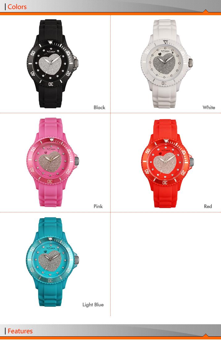 Vogue Watch 5 colors InTimes IT-043 silicone watches Japan Movt quartz watch Retail Wholesale OEM