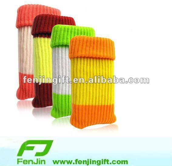 knit cell phone sock holder