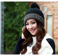 Женская шапка New Cute Ball Decorate Knitted Hats For Women Beanies Warm Caps For Winter 8 Colors For Choose