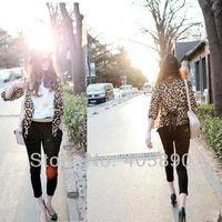 Женская куртка 2013 Leopard Chiffon Tunic Sleeve Cardigan Jacket
