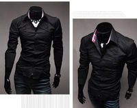 Free Shipping 2013 Brand New Item Design Mens Shirts Casual Slim Fit Stylish Dress Shirts Color:White,Black,Gray Size:M-L-XL-XXL