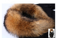 Женские пуховики, Куртки 2013 winter fashion luxury raccoon fur thickening medium-long cotton-padded jacket