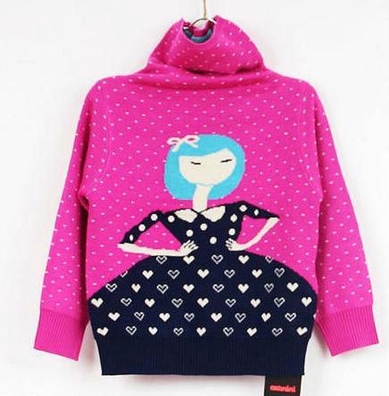 las niñas punto suéter de cuello alto patrón de dibujos animados ...