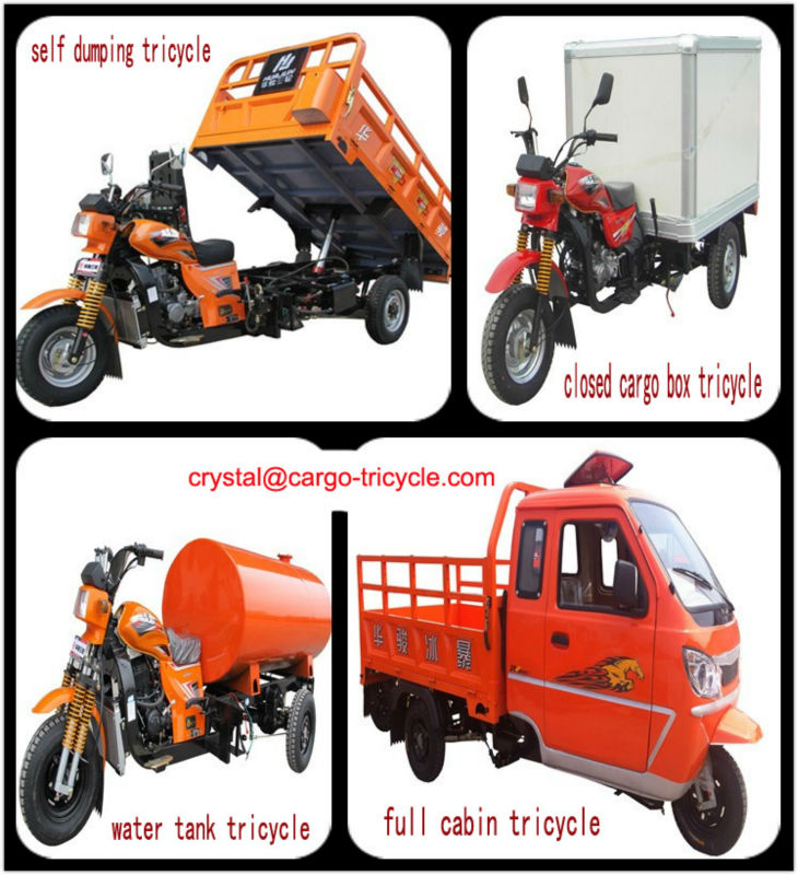 China Cabin motorcycle cargo tricycle with Closed cargo box