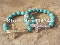 Ювелирное украшение с крестом Charm 10MM Turquoise Stone Beads With Silver &Gold Rhinestone Crystal Pave Cross Connector Beads Sideways Cross Bracelets 20PCS
