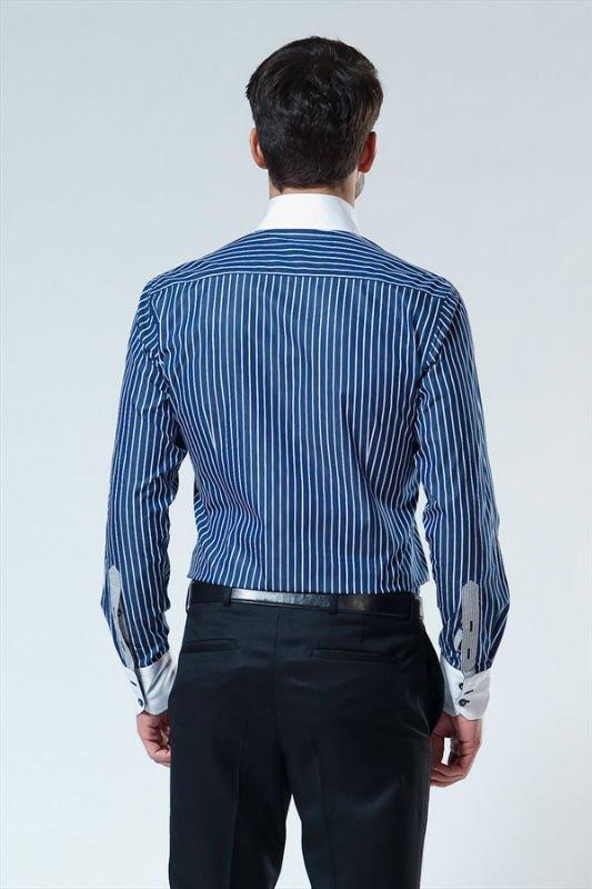 nuevo de cuello alto de color azul marino camisas para hombre ...