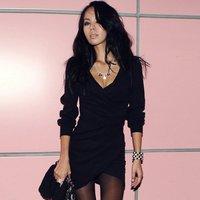 Женское платье 2012 new Fashion women's Sping &autumn full sleeve v -neck sheath black dress #10644