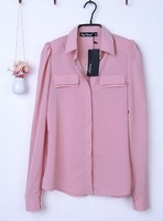 Женские блузки и Рубашки Autumn&summer women ladies long sleeve shirts/tops/clothing/blouses pink and green colors