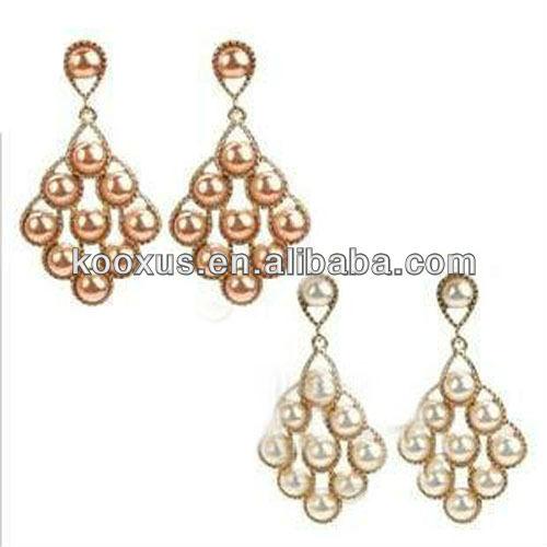 new model 2014 gold hanging pearl earrings