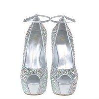 Туфли на высоком каблуке women crystal shoes for wedding ceremony diamond platforms pumps dress lace party shoes women high heels platform