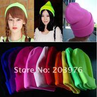 Женская шапка Fashion Fluorescent Colors Neon Women Knitted Winter Hats & Men Cap 15 colors