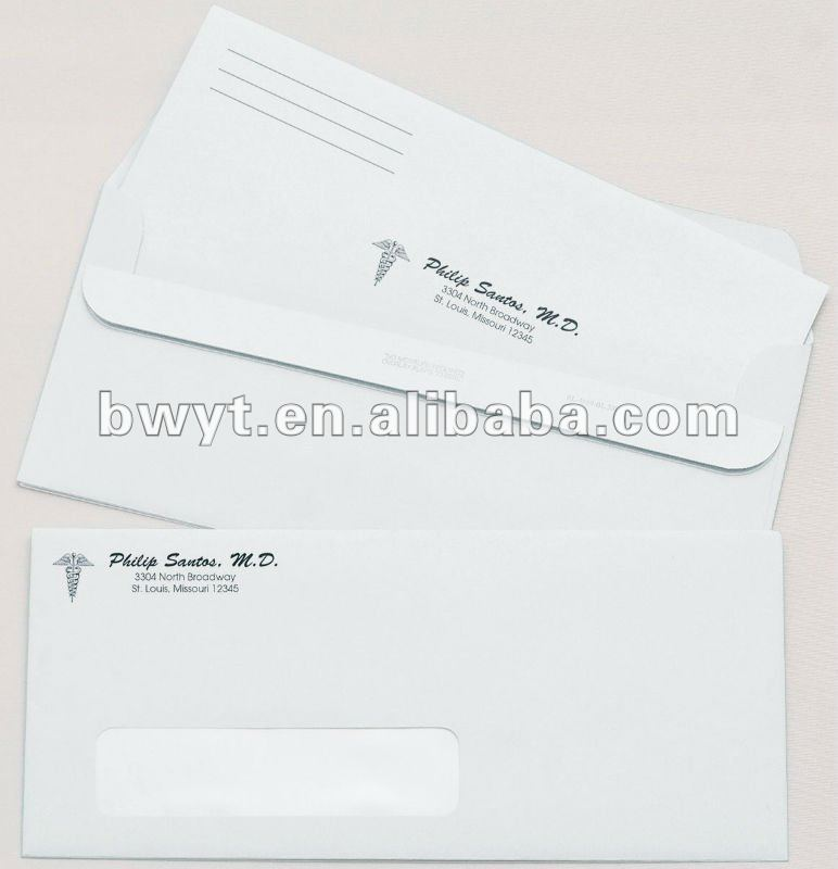 peal and seal color inner paper envelope with window