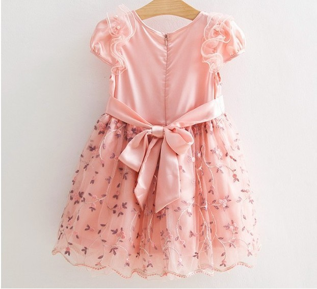 2014 new arrival boutique fashion embroidery floral children girl princess summer chiffon tutu dress with sash 5pcslot (4).jpg