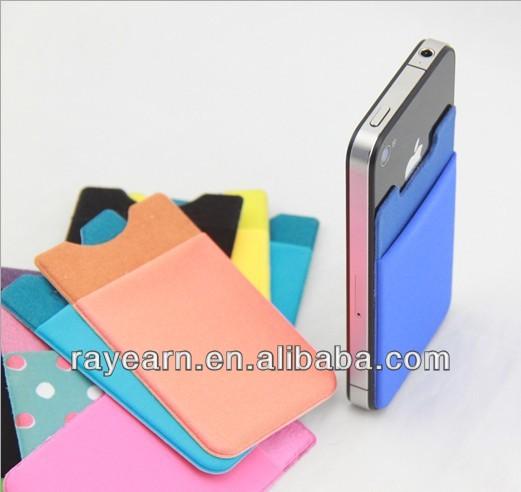 . 3M adhesive sticks nylon smart wallet for mobile phones , card holder for cellphone