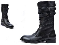 Мужские ботинки Men's Fashion PU Surface Lace Up And Buckle Strap Low Heel Knee Boots Leather Boot Size US 7-10 -M550