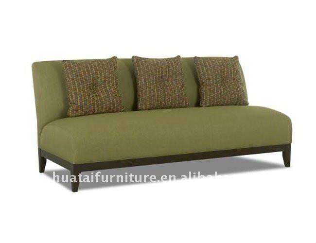 Verde sin brazos sof de la tela sof s sala estar for Sofa cama sin brazos