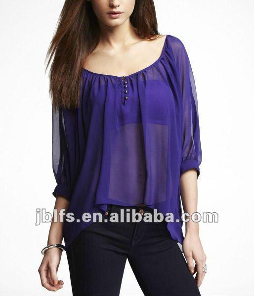 Señora de la gasa de la manga del BATWING de la blusa-Mujer Blusas y