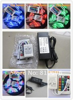 Free Shipping 5M 500CM Waterproof 3528 LED Strip RGB +24 key IR Remote+12v 3A Power