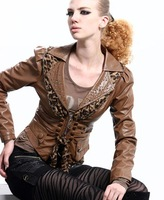 Женская одежда из кожи и замши Women's Leather Jackets High quality Rhinestone and leopard ladies' coat fashion outerwear 1202060 Special offer