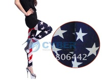Женские носки и Колготки Women American Flag Stripe Star Print Leggings Lady Summer Skinny Tights New Fashion Cropped Jeans
