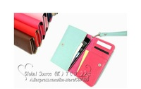 Long - Style Smart Multi wallet case for Galaxy S3 Cross pattern leather case for iphone 4s  multi handbag for iphone 4