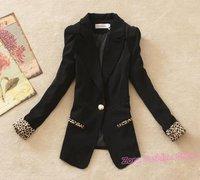 свободный корабль Мода дамы леопард пиджак пиджак, тонкий одной кнопки полный рукав черный белый оранжевый конфеты цвет ol костюм пуховики
