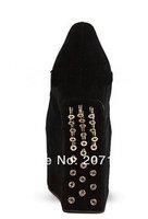 Туфли на высоком каблуке+ Drop shipping wedding shoes leather platform pumps black spike wedge shoes