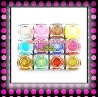FREE SHIPPING NEW 12x Colors 8ml UV Builder Gel Nail Art Glitter Dust K410