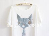 Футболка Japan Korea Fashion Summer Loose Leisure Cartoon Kitty Women Round neck Bat T-shirt Short sleeve T-shirt