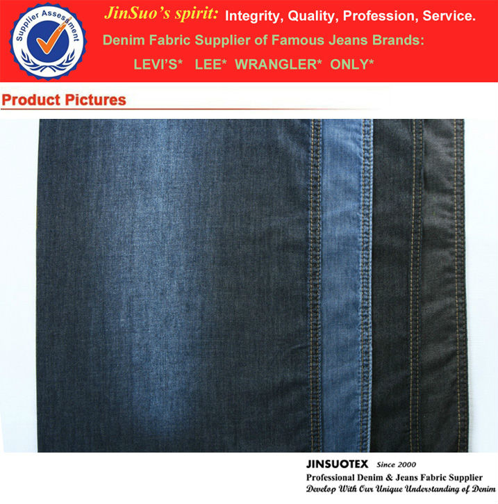 "100% Cotton Color Denim Fabric Light Blue 4 oz 32s*32s 59/61"" Wide"