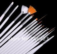 Wholesale Retail 15pcs Cream White Nail Art Brush Set NAIL ART TIPS DESIGN PEN BRUSH PAINTING DRAWING SALON TOOLS SET