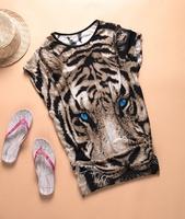 Женская футболка Tiger printed PoloTshirt Long Tops Womens Summer Tees Blue Eyes Popular T shirt Hot Sale Fashion NWT Milk silk Animal pattern