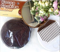 Косметическое зеркало 100pcs Compact Mirror Cute Chocolate Cookies Portable Makeup Mirror Comb -DHL