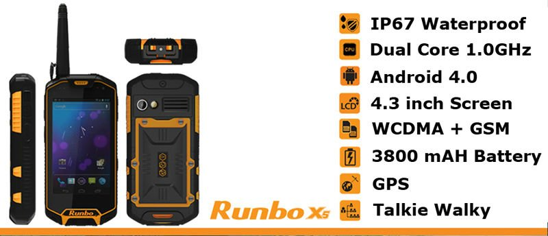 Runbo X5 IP67 GPS/3G/Bluetooth/Wifi/Walkie-Talky rugged waterproof phones