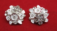 Free Shipping Rhinestone Embellishment Without Loop 27mm 20pcs/lot Flat Back Silver Color