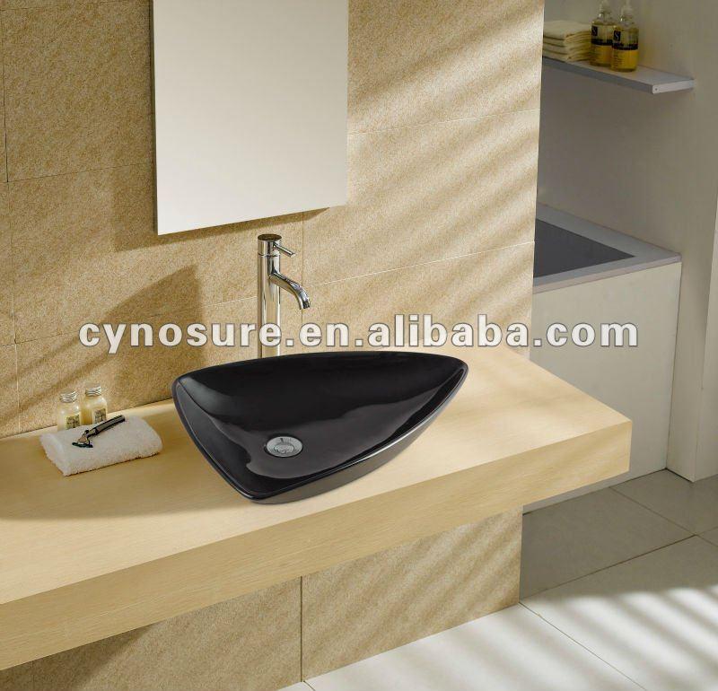 Triangular Preto Cor Bacia de Lavagem CerâmicaPias para banheiroID do produ -> Cuba Para Banheiro Triangular
