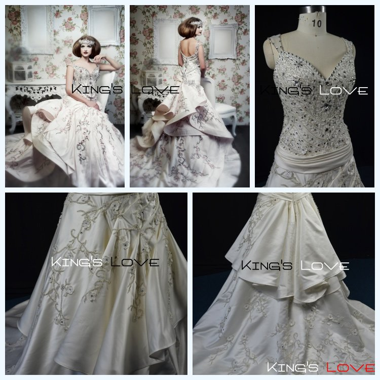 King's Love Fantastic Mermaid Sweetheart neckline  Delicated Lace Embroidery  In Orgabza New design Wedding  Gown Bridal Dress