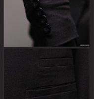 The cheapest casual fashin suit / men black fake two pieces suit/ handsome men asymmetry style bardian suit/coat