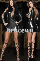 Женский эротический костюм Sexy tight custome Leather look pvc look wet look clubwear fancy patry dress fetish wear retail 748
