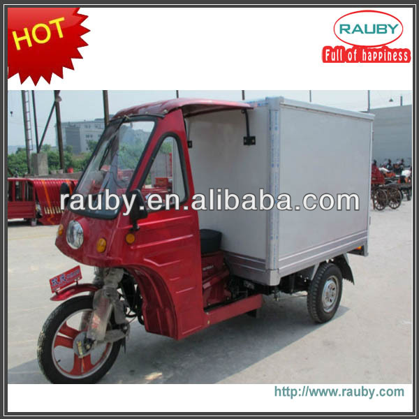 200CC gas Driver Cabin Three Wheel Motorcycle With Delivery Box