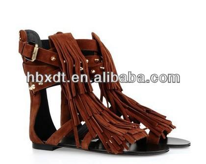 2014 New style trendy tassel sandal alibaba for women ! ladies summer flat sandal ! fashion flat summer sandals !