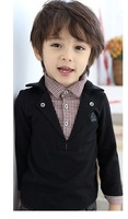 Рубашка для мальчиков Retail 2013 children's new Korean children boys shirts cotton black solid color turn-down collar plaid shirts A004