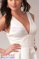 Платье на выпускной Custom Made Top Quality Custom Made Top Quality Zipper Up V-Neck Ruffles Deep V Neck Sleeveless Satin Ball Gown Graduation Dress